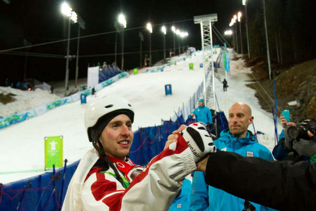 Bilodeau blazed through the course in 23.17 seconds to win the men's moguls finals.