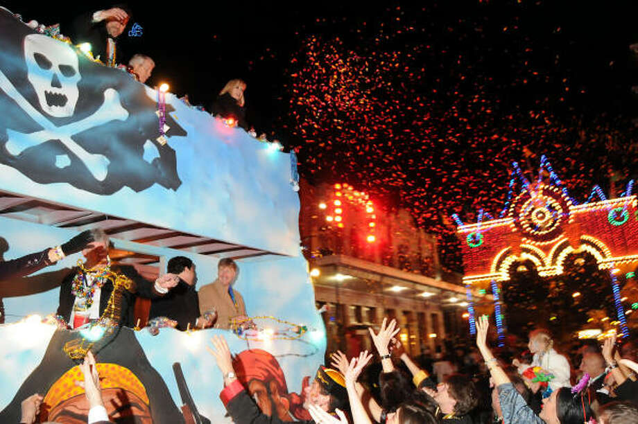 The Knights of Momus Grand Night parade passes by  the Mardi Gras Ball, A Celebration of the Chinese New Year at the Tremont House. Photo: Dave Rossman, For The Chronicle