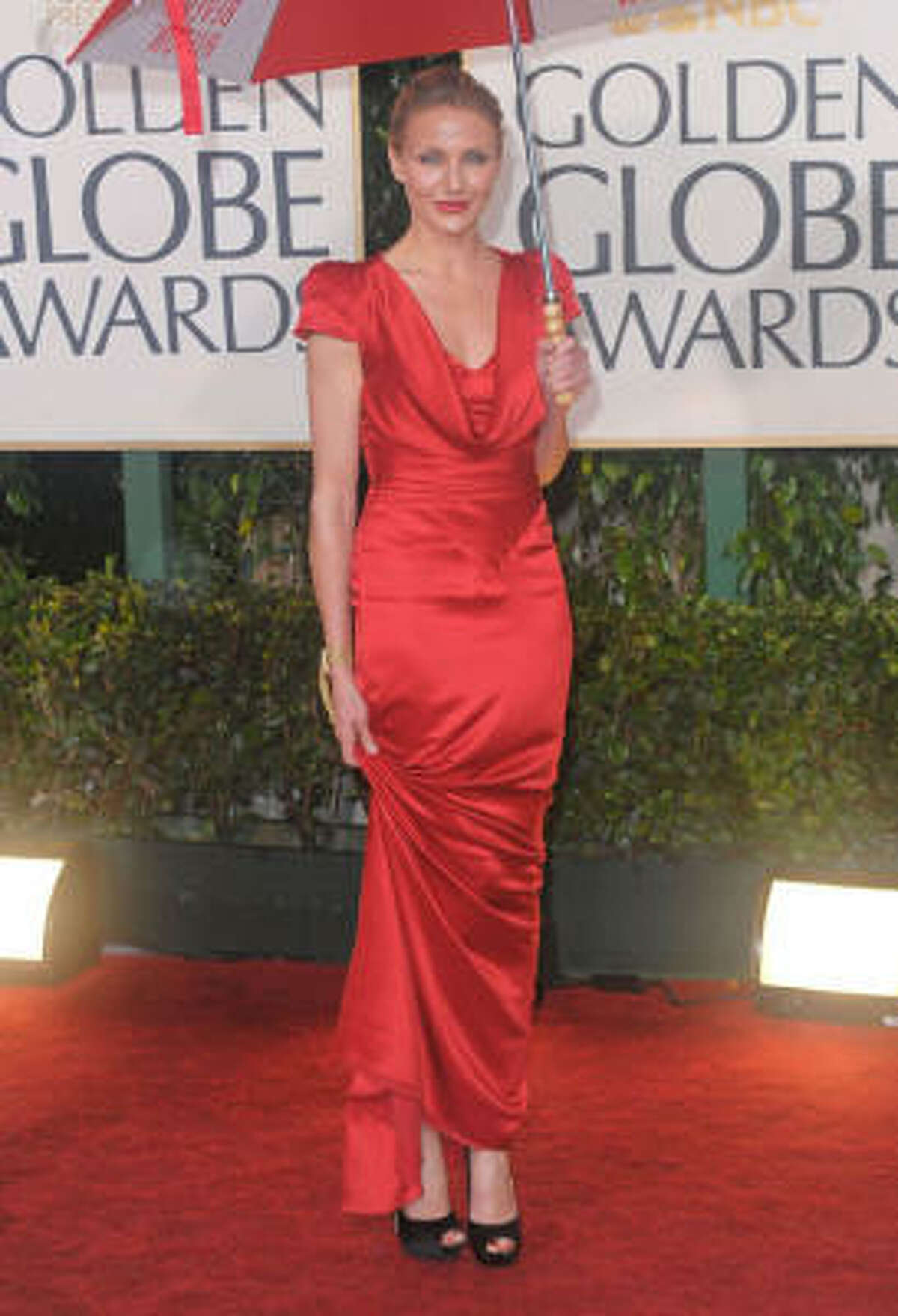 Cameron Diaz wore a red-siren dress to the Golden Globes in January.