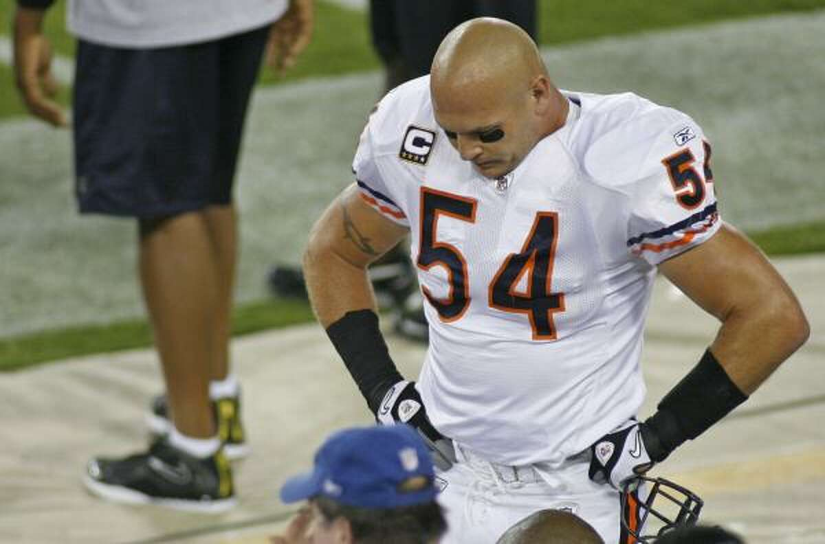 Chicago Bears Needs: Improvement on both lines and in secondary; a healthy MLB Brian Urlacher (top photo); better decisions from Jay Cutler, who threw league-leading 26 interceptions with 27 touchdowns; No. 1 receiver. Strengths: Special teams; linebackers, particularly if Urlacher stays healthy. Cutler, if he cuts down on mistakes.