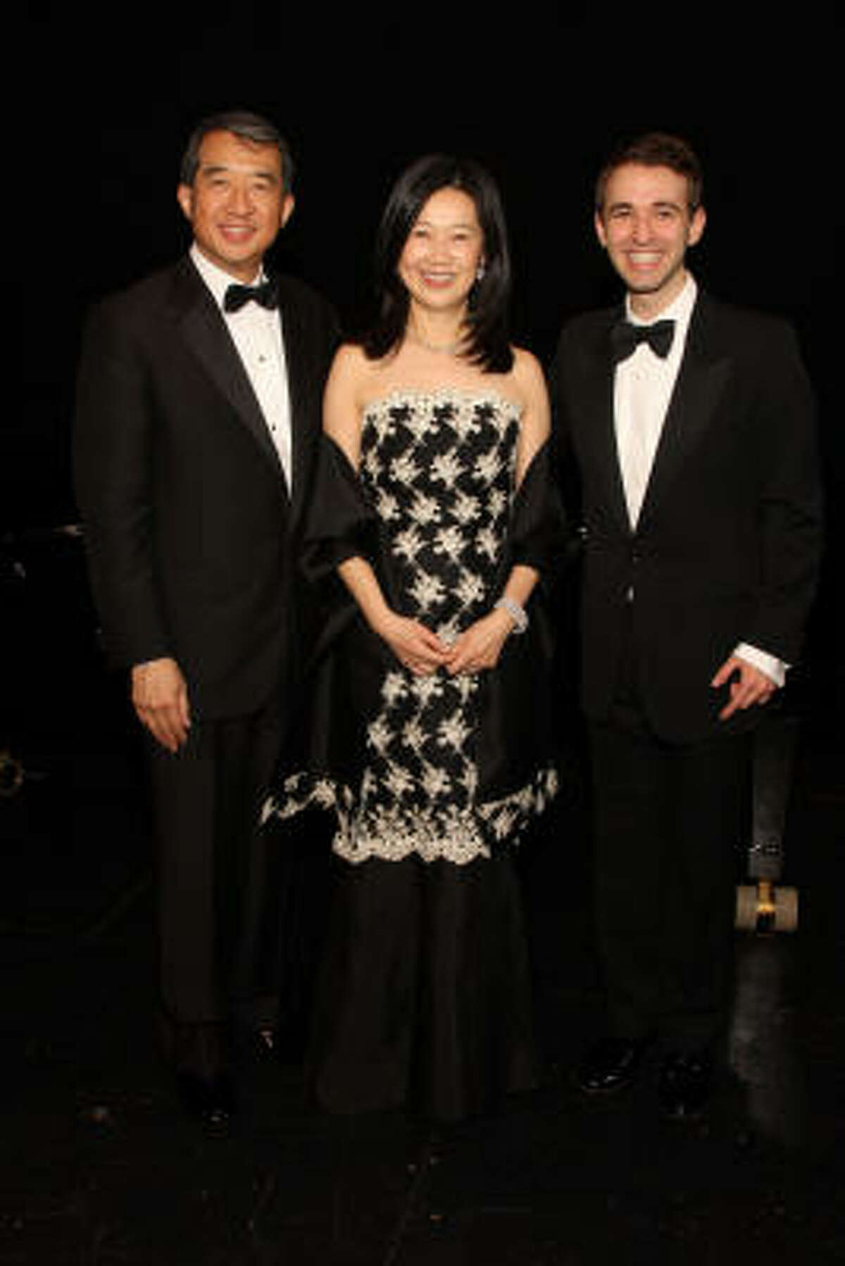 Chairs Albert and Anne Chao with countertenor Anthony Roth Costanzo, the winner of Concert of Arias, a recruiting and fundraising vehicle for the Houston Grand Opera Studio.