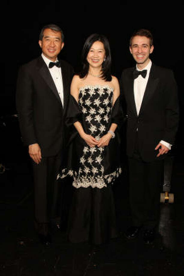 Chairs Albert and Anne Chao with countertenor Anthony Roth Costanzo, the winner of Concert of Arias, a recruiting and fundraising vehicle for the Houston Grand Opera Studio. Photo: Courtesy Houston Grand Opera