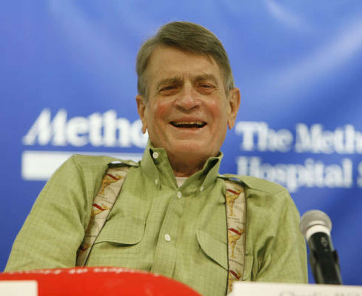 Former U.S. Rep. Charlie Wilson speaks at a press conference before his discharge from Methodist Hospital after heart transplant surgery Thursday, Oct. 4, 2007, in Houston.