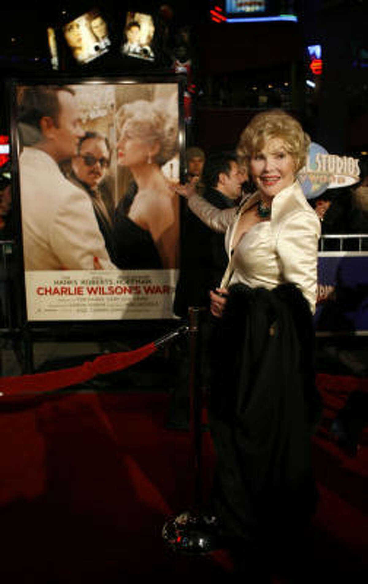 Joanne Herring walks the red carpet for the premiere of Charlie Wilson's War at Universal Studios in Los Angeles. Herring is played by Julia Roberts in the movie.