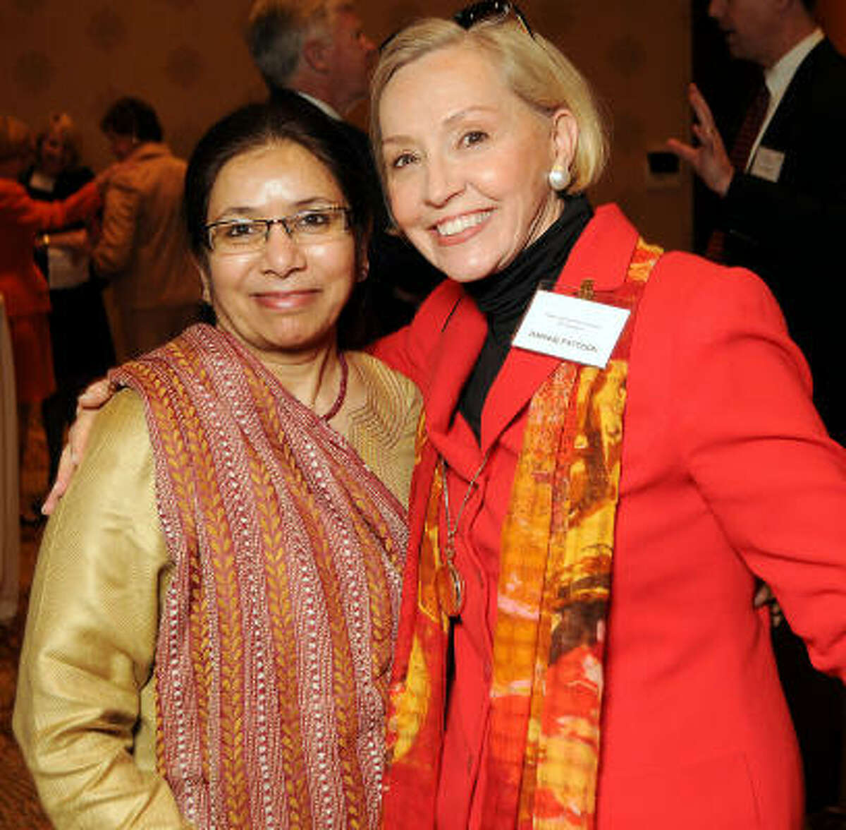 Saleha Khumawala and Kaye Patterson at the Three Cups of Tea with Greg Mortenson luncheon to raise funds and awareness for the Central Asia Institute at the Hotel InterContinental.