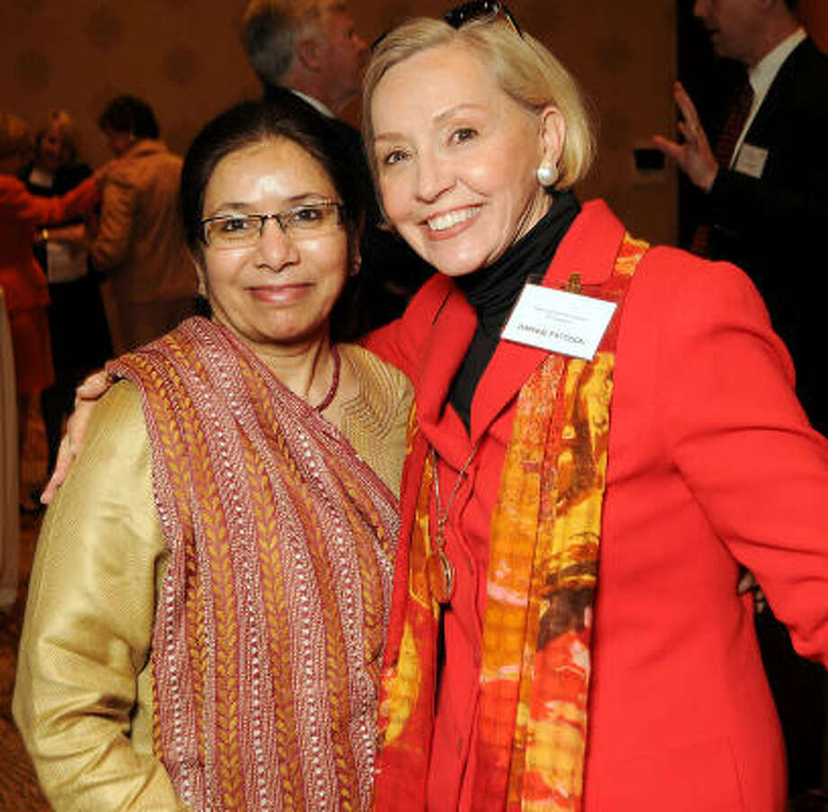Saleha Khumawala and Kaye Patterson at the Three Cups of Tea with Greg Mortenson luncheon to raise funds and awareness for the Central Asia Institute at the Hotel InterContinental. Photo: Dave Rossman, For The Chronicle