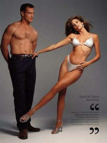 Dallas Cowboys' Daryl Johnston and his wife, Diane, are shown in the 1998 Sports Illustrated Swimsuit edition. Photo: AP