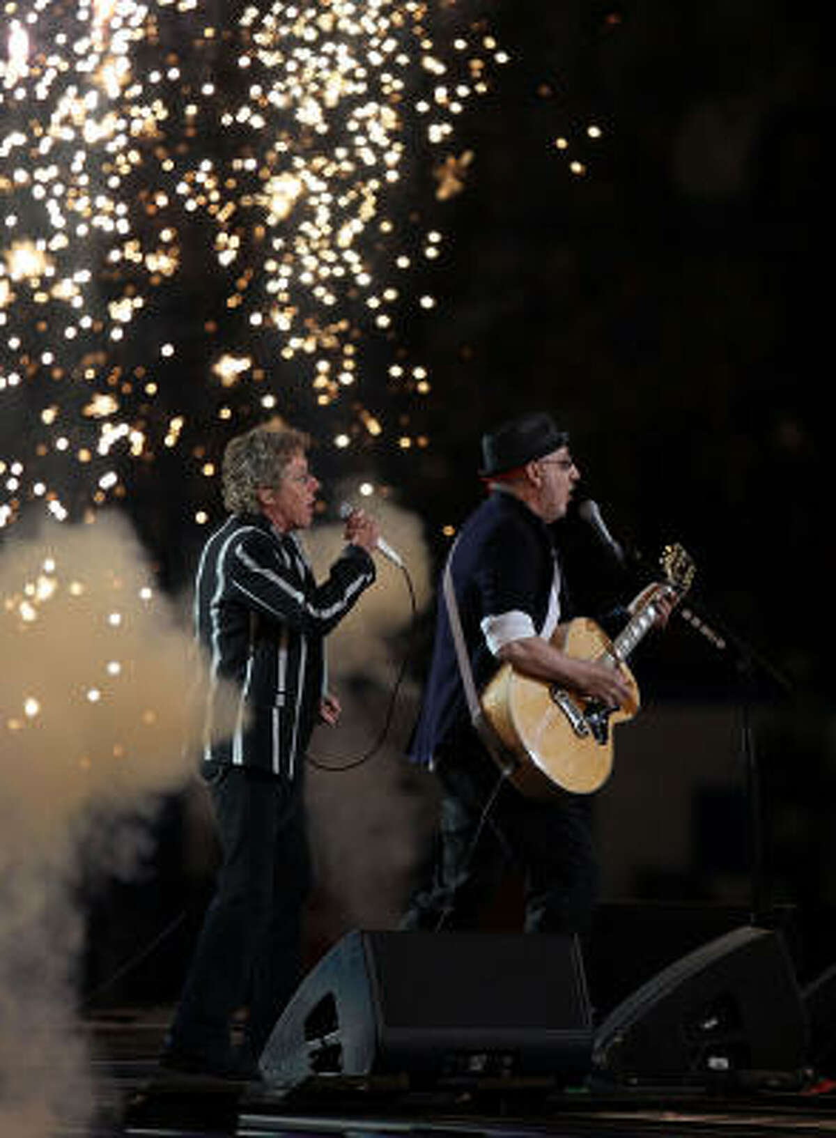 Roger Daltrey, left, and Pete Townshend light up the halftime show during Sunday's Super Bowl.