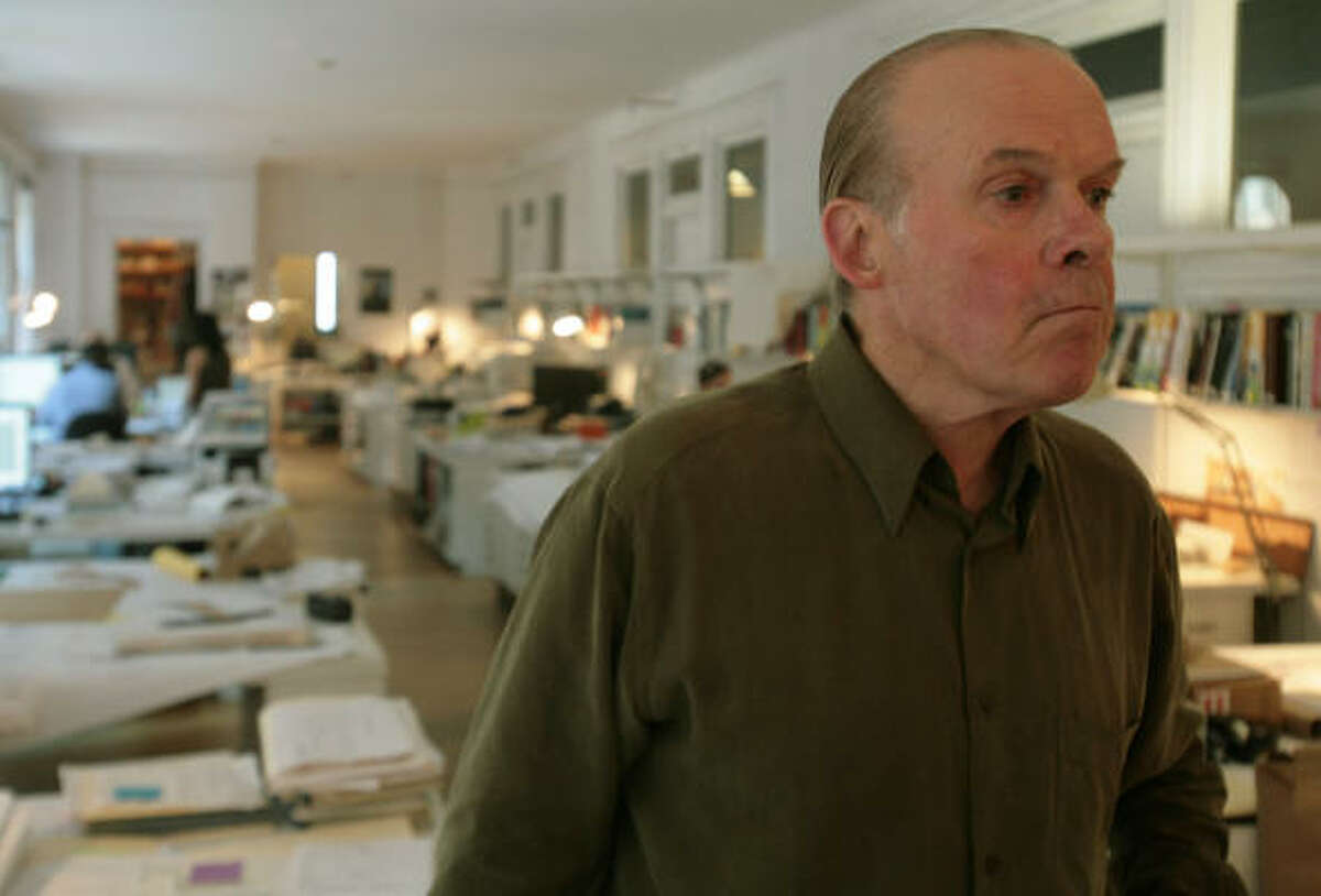 Joseph Tonetti stands at the head of his architectural firm's office space, a combined area of three studios, at Carnegie Hall in New York, on Thursday. Tonetti, who has operated his firm since 1968, and other tenants are fighting eviction proceedings.