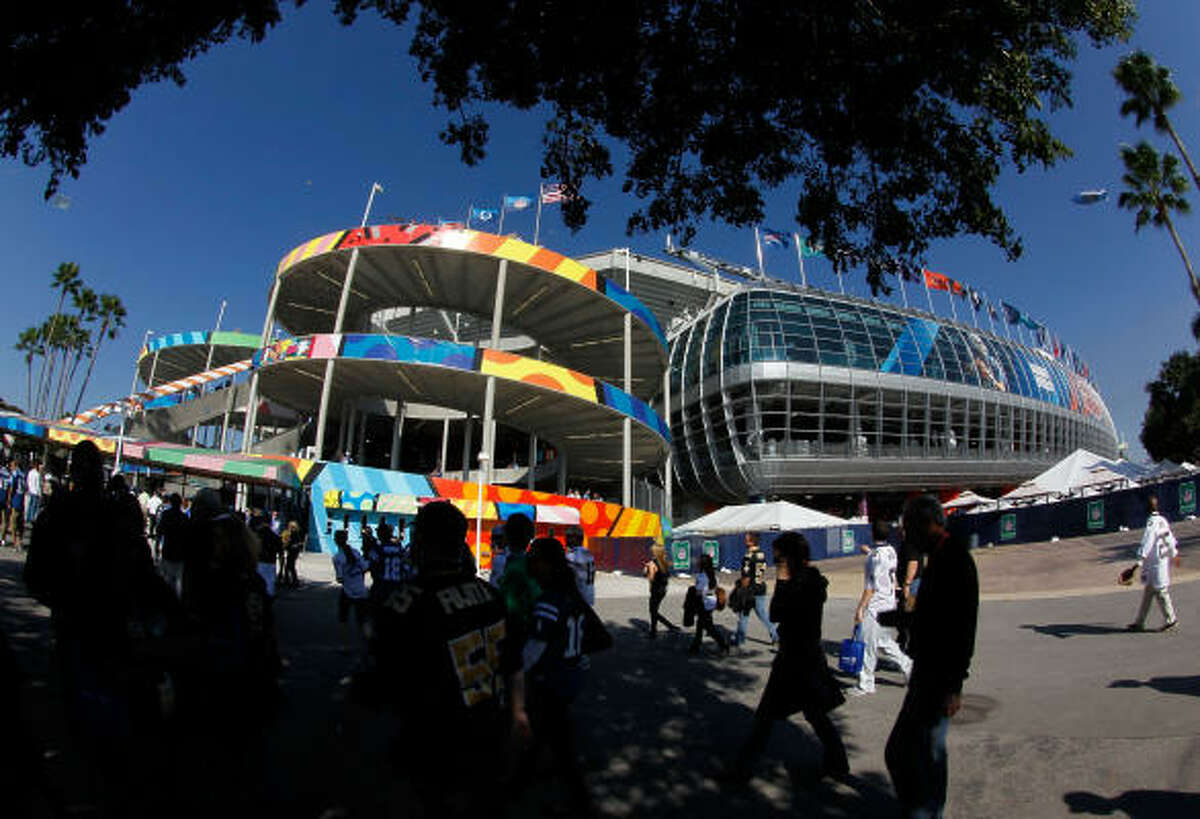 Fans arrive at Sun Life Stadium before Super Bowl XLIV between the Colts and the Saints on Sunday in Miami Gardens, Florida.