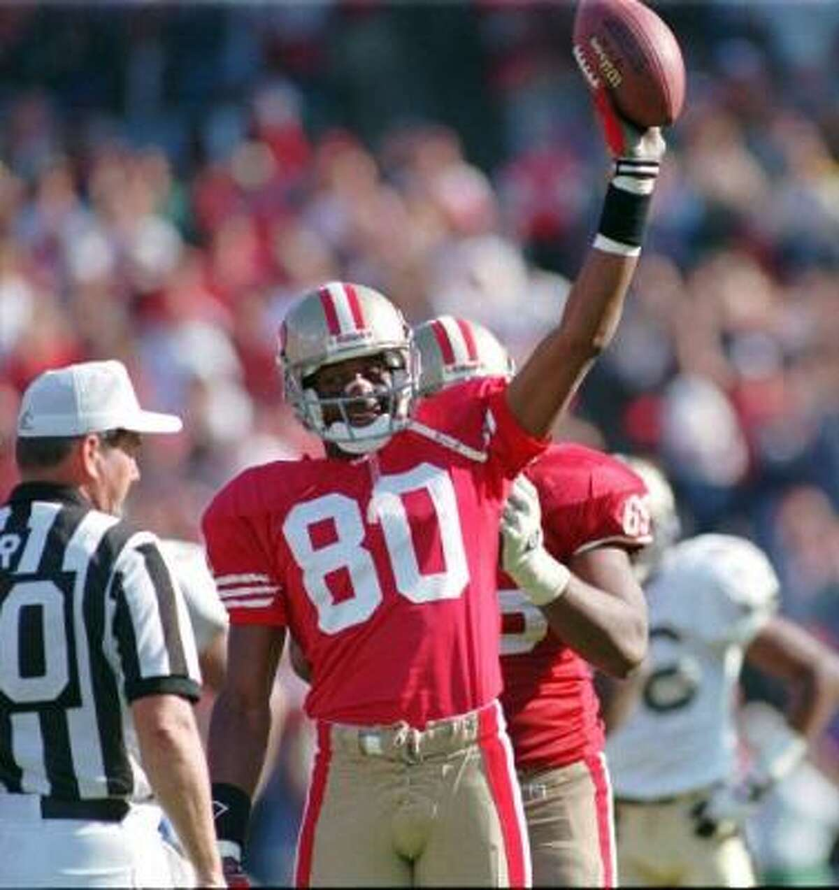 Inductee: Jerry Rice Position: WR Teams: 49ers, Raiders, Seahawks Years: 21 Rice holds the NFL's career receiving record with 1,549 catches for 22,895 yards and 197 touchdowns. He was a two-time NFL Offensive Player of the Year and won three Super Bowls with the 49ers.