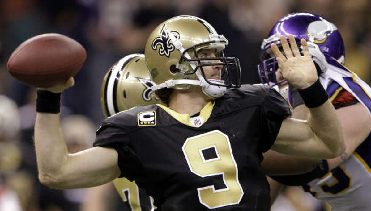 Drew Brees Position: Quarterback Comment: Comes off sensational season in which he led NFL in passer rating (109.6, a career high), TD passes (34) and completion percentage (70.6, an NFL record) ... Had 4,388 yards passing, his fourth consecutive 4,000-yard season ... Has been key to Saints' turnaround since 2006, leading them to two NFC title games and now the Super Bowl ... Was a college hero in Indiana, although not many Colts fans likely are rooting for him this time ... Has thrown six TDs, no INTs and has 116.1 rating in playoffs.