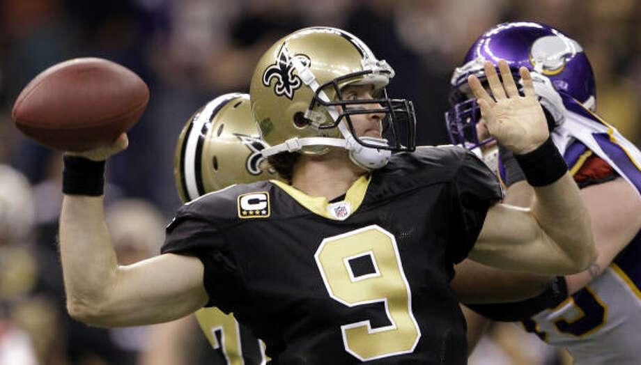 Drew Brees Position: Quarterback Comment: Comes off sensational season in which he led NFL in passer rating (109.6, a career high), TD passes (34) and completion percentage (70.6, an NFL record) ... Had 4,388 yards passing, his fourth consecutive 4,000-yard season ... Has been key to Saints' turnaround since 2006, leading them to two NFC title games and now the Super Bowl ... Was a college hero in Indiana, although not many Colts fans likely are rooting for him this time ... Has thrown six TDs, no INTs and has 116.1 rating in playoffs. Photo: David J. Phillip, AP