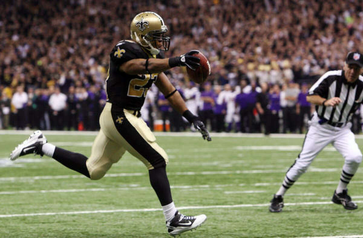 Pierre Thomas Position: Running backs Comment: Undrafted out of college, has gone from special teams ace to starting running back ... Led Saints with 793 yards rushing and six TDs. Also had 39 receptions and two more TDs ... Overtime leap on fourth-and-1 for first down was key in NFC championship victory ... Has recovered from late-season rib injury that sidelined him for finale.