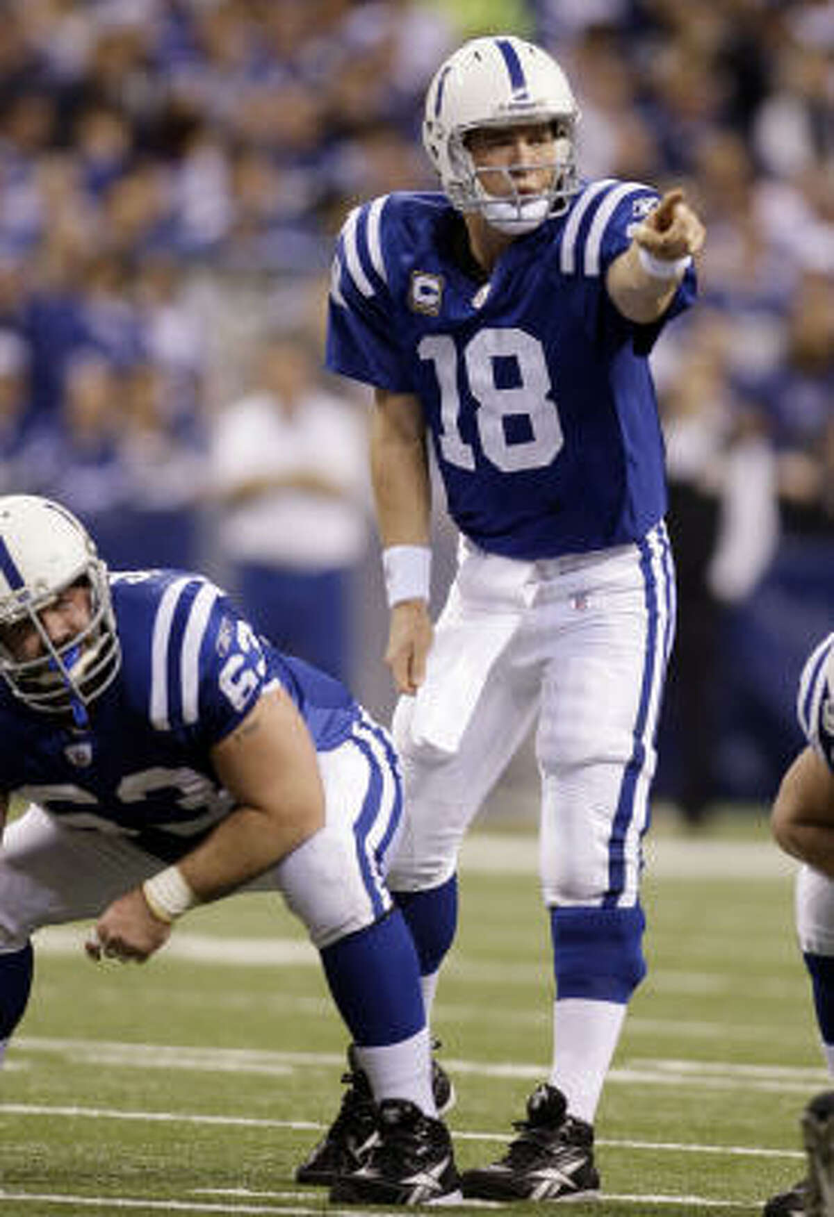 Peyton Manning Position: Quarterback Comment: Only four-time MVP in NFL history ... Led Colts to 2006 championship, winning Super Bowl in Miami and game's MVP award ... A native of New Orleans whose father, Archie, was Saints' first star ... Trying to become first reigning MVP to win Super Bowl since Kurt Warner in 1999 ... Set NFL record for 300-yard playoff games with his seventh in AFC title game win over Jets, going 26-of-39 for 377 yards ... Is No. 3 in postseason completions ... Had instrumental role in development of young WRs this season.