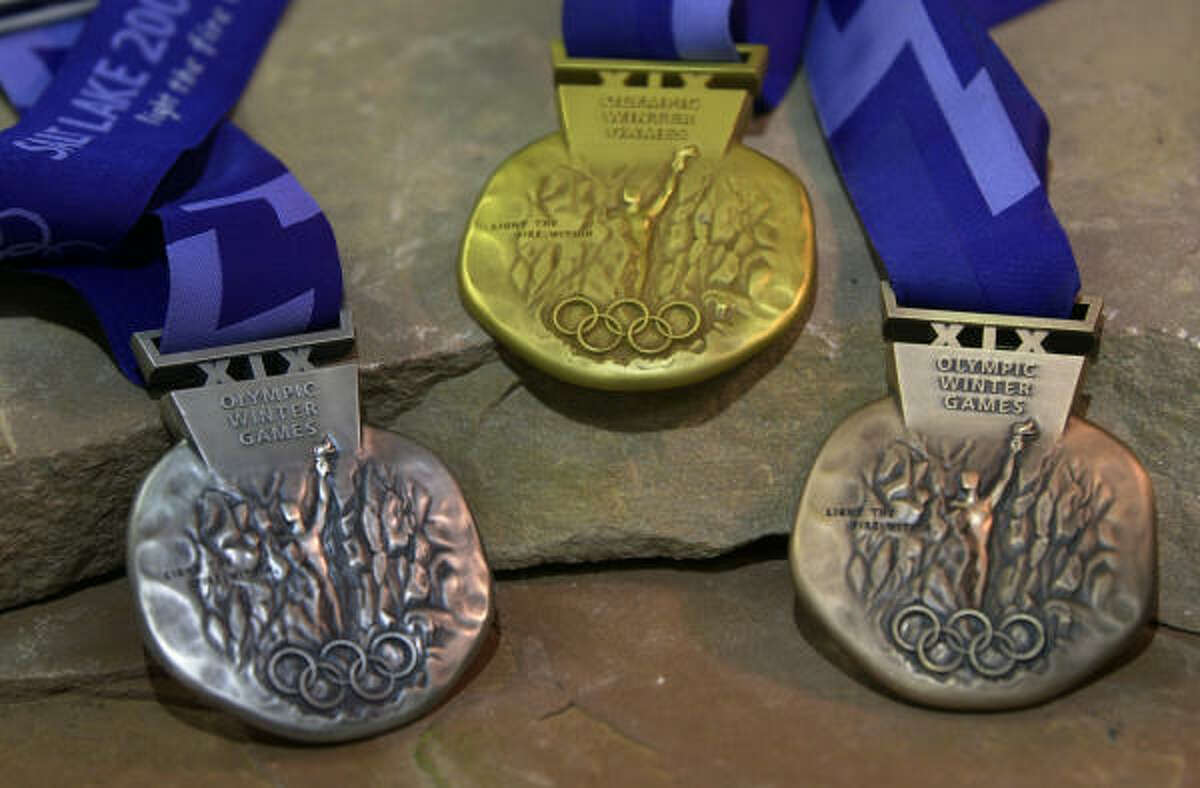The medals for the 2002 Winter Olympics in Salt Lake City.
