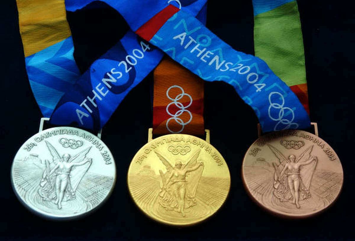 The medals for the 2004 Games in Athens, Greece.