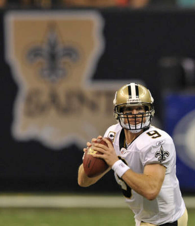 Sept. 13: Saints 45, Lions 27Record:1-0  Drew Brees looked even better than last year, which was bad news for a Detroit Lions team trying to win for the first time since 2007.   Brees tied a Saints record with six touchdown passes and threw for 358 yards in a victory that extended the Detroit Lions' regular-season losing streak to 18.  Two of Brees' touchdown passes went to Jeremy Shockey, who hadn't scored since being traded from the New York Giants to New Orleans last season.  Brees connected with Marques Colston for 9 yards, Robert Meachem for 39, Shockey for 1 and 15, Devery Henderson for 58 and Heath Evans for 13. Photo: Bill Feig, AP