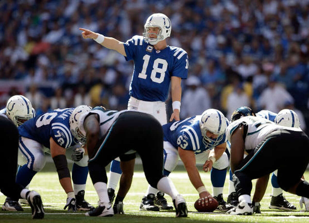 Sept. 13: Colts 14, Jaguars 12 Record: 1-0 Peyton Manning threw for one touchdown, Joseph Addai ran for another and the Colts' defense stopped Jacksonville twice in the fourth quarter. Though Manning tied John Unitas' franchise record for career wins with 118. Manning lost receiver Anthony Gonzalez late in the first quarter with a right knee injury, a potentially serious blow to the Colts usually high-scoring offense. Reggie Wayne finished with 10 catches for 162 yards and a TD and Colts coach Jim Caldwell won his NFL head coaching debut. Indy allowed only 228 yards, 114 each on the ground and through the air. With the Colts leading 14-6 early in the fourth quarter, Maurice Jones-Drew took a pitch and made a nifty move to avoid tacklers on a 7-yard TD run. The Jags then put Jones-Drew in the wildcat formation on a 2-point conversion, but the Colts bottled him up as he reached the line of scrimmage to keep the lead.