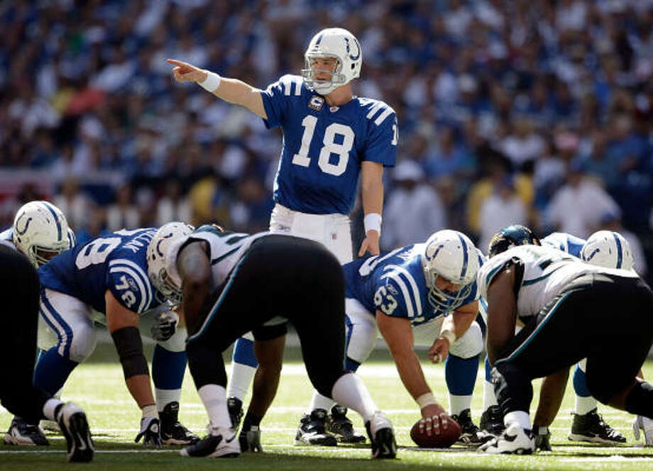 Sept. 13: Colts 14, Jaguars 12Record: 1-0  Peyton Manning threw for one touchdown, Joseph Addai ran for another and the Colts' defense stopped Jacksonville twice in the fourth quarter.  Though Manning tied John Unitas' franchise record for career wins with 118. Manning lost receiver Anthony Gonzalez late in the first quarter with a right knee injury, a potentially serious blow to the Colts usually high-scoring offense. Reggie Wayne finished with 10 catches for 162 yards and a TD and Colts coach Jim Caldwell won his NFL head coaching debut. Indy allowed only 228 yards, 114 each on the ground and through the air.  With the Colts leading 14-6 early in the fourth quarter, Maurice Jones-Drew took a pitch and made a nifty move to avoid tacklers on a 7-yard TD run. The Jags then put Jones-Drew in the wildcat formation on a 2-point conversion, but the Colts bottled him up as he reached the line of scrimmage to keep the lead. Photo: Andy Lyons, Getty Images