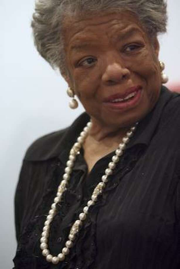 "Poet and author Maya Angelou: ""Indianapolis, 28-16. Sadly, I must inform the New Orleans Saints that I will not be in their number. I plan to be with the other team when the Colts go marching in."" Photo: Mary Altaffer, AP"