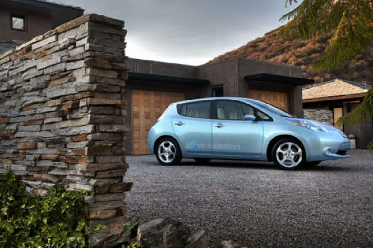 Slated for launch in late 2010 in Japan, the United States, and Europe, the Nissan LEAF hatchback was designed as a family car. The company says it will go 100 miles on a single charge.