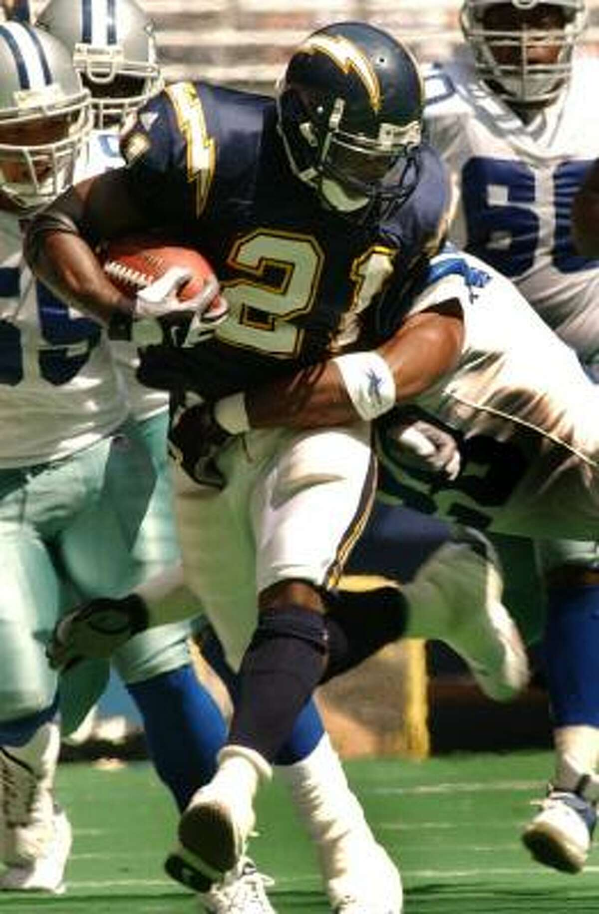 LT was the fifth overall pick in the 2001 NFL Draft. He rushed for 1,236 yards and scored 10 touchdowns during his rookie year.