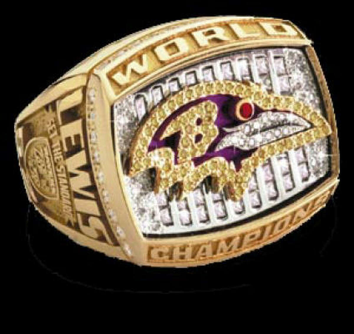Baltimore Ravens Superbowl ring. HOUCHRON CAPTION (03/10/2003): A federal lawsuit filed by Houston jeweler Diamond Cutters alleges that Jostens Inc. and the 2001 Super Bowl champion Baltimore Ravens