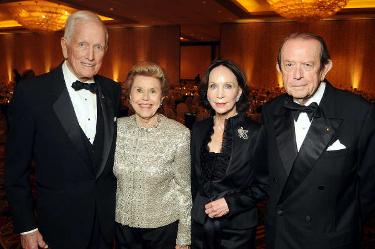 From left: Dr. Denton Cooley and his wife Louise with chairs Cornelia and Meredith Long