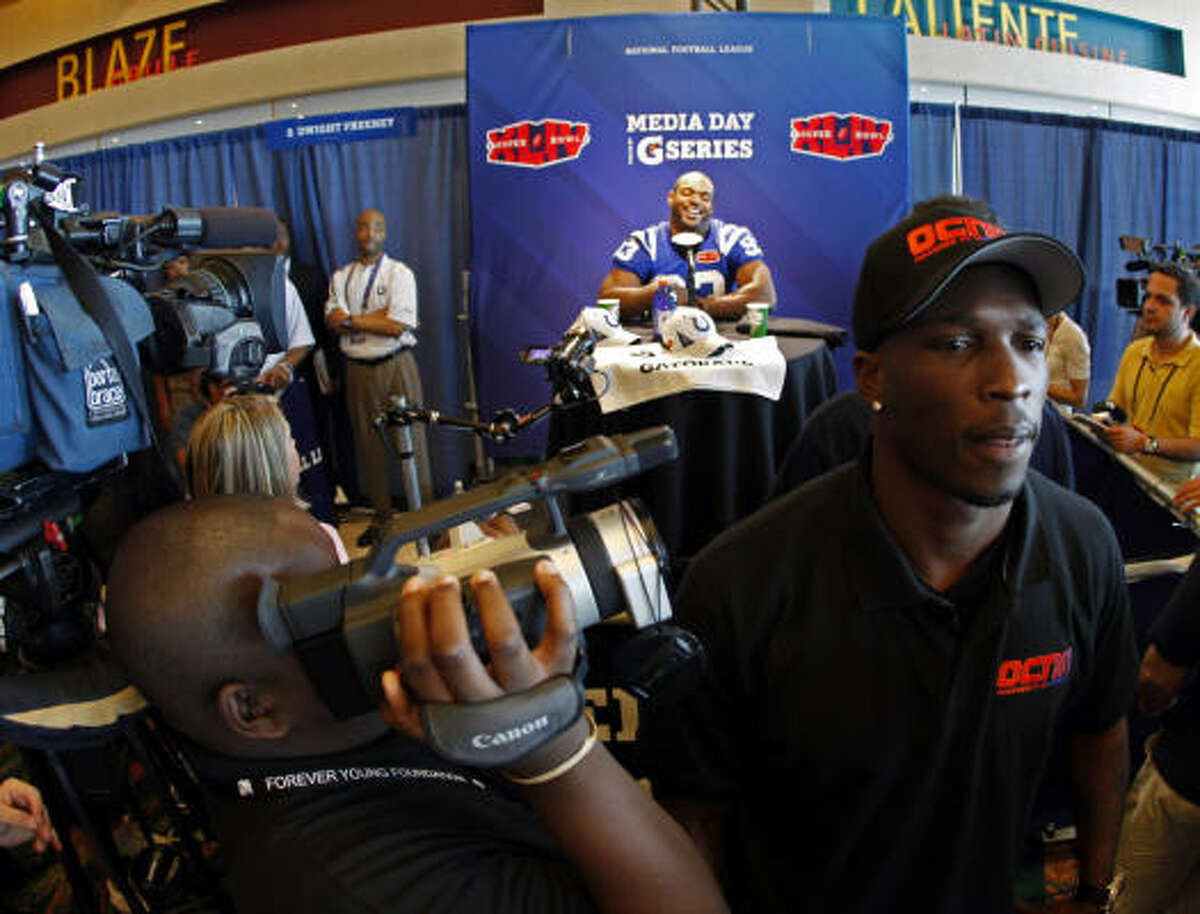 Cincinnati Bengals wide receiver Chad Ochocinco is attending Media Day as part of his venture the