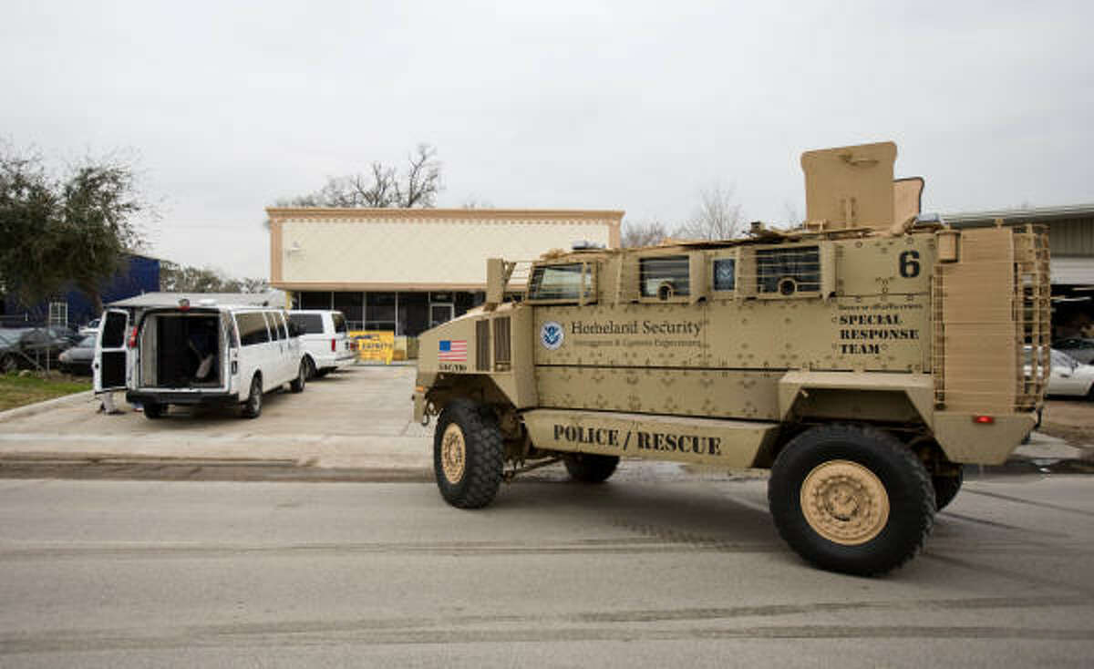 ICE agents use a military Mine Resistant ambush Protected vehicle to raid one of the businesses that is involved in human trafficking.