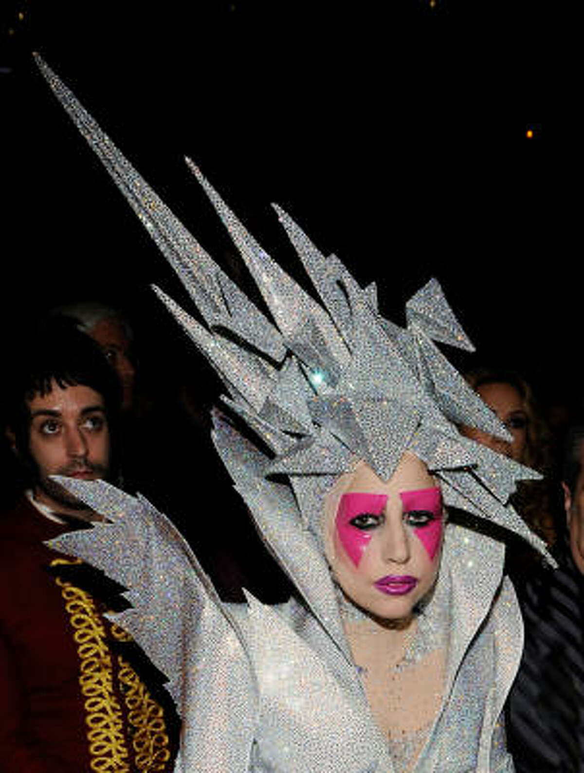 Lady Gaga's hat was sure to anger whoever was sitting behind her.