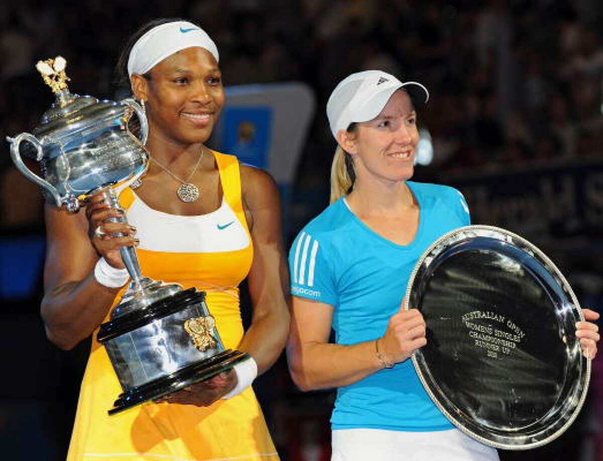 Serena Williams, left, won her fifth Australian Open title and 12th Grand Slam singles championship.