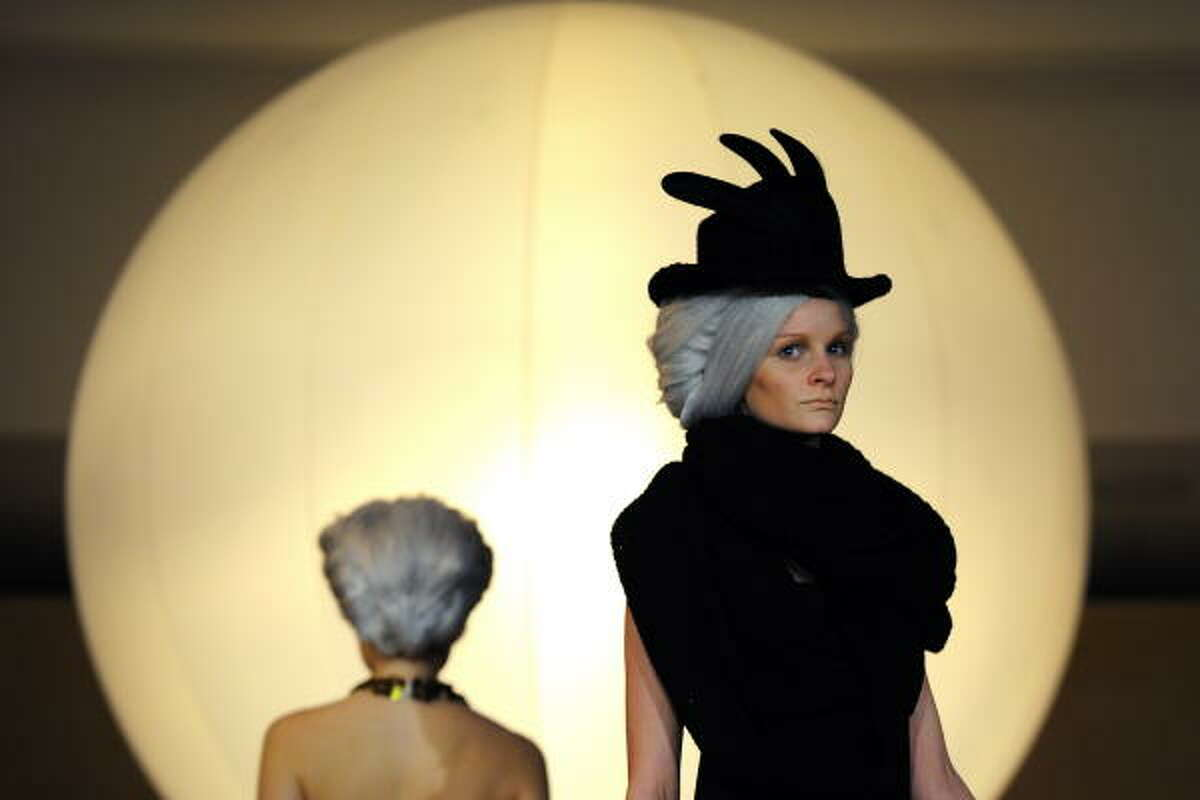 A model presents a creation as part a Biodiversity fashion show at the European headquarters of the United Nations in Geneva. Prominent figures from government, international organizations and the fashion and cosmetics industries met in Geneva to call for action against the rapid loss of the world's biodiversity.