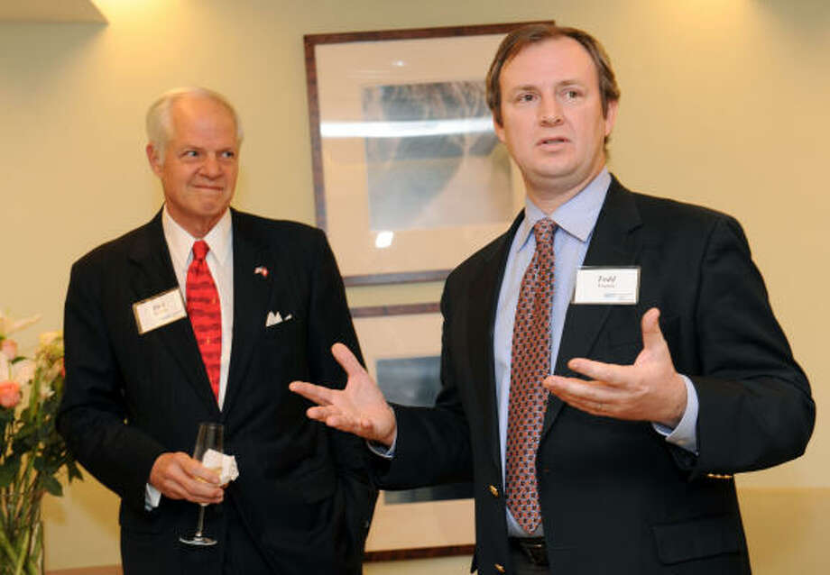 Jack and Ginger Blanton hosted a pre-concert reception celebrating the Houston Symphony's Carnegie Hall performance. Pictured are Richard Stasney, left, and Jefferson 'Todd' Frazier. Photo: Diane Bondareff, For The Chronicle
