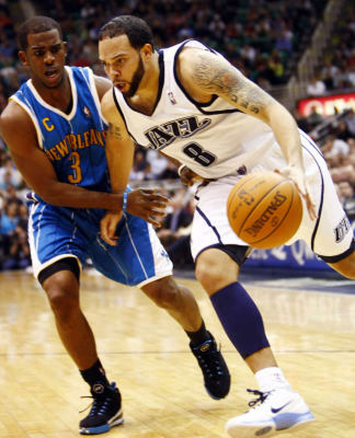 Utah Jazz guard Deron Williams (8) is averaging 19 points and 9.5 assists per game.