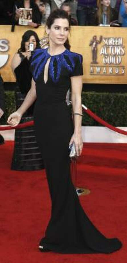 It's hard to find something nice to say about Sandra Bullock's Alexander McQueen. Photo: Matt Sayles, AP