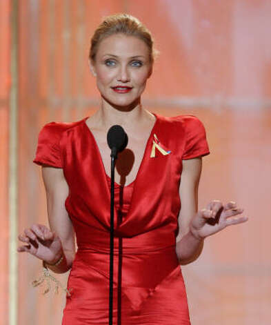 Cameron Diaz presents onstage at the Golden Globes. Photo: Paul Drinkwater, AP
