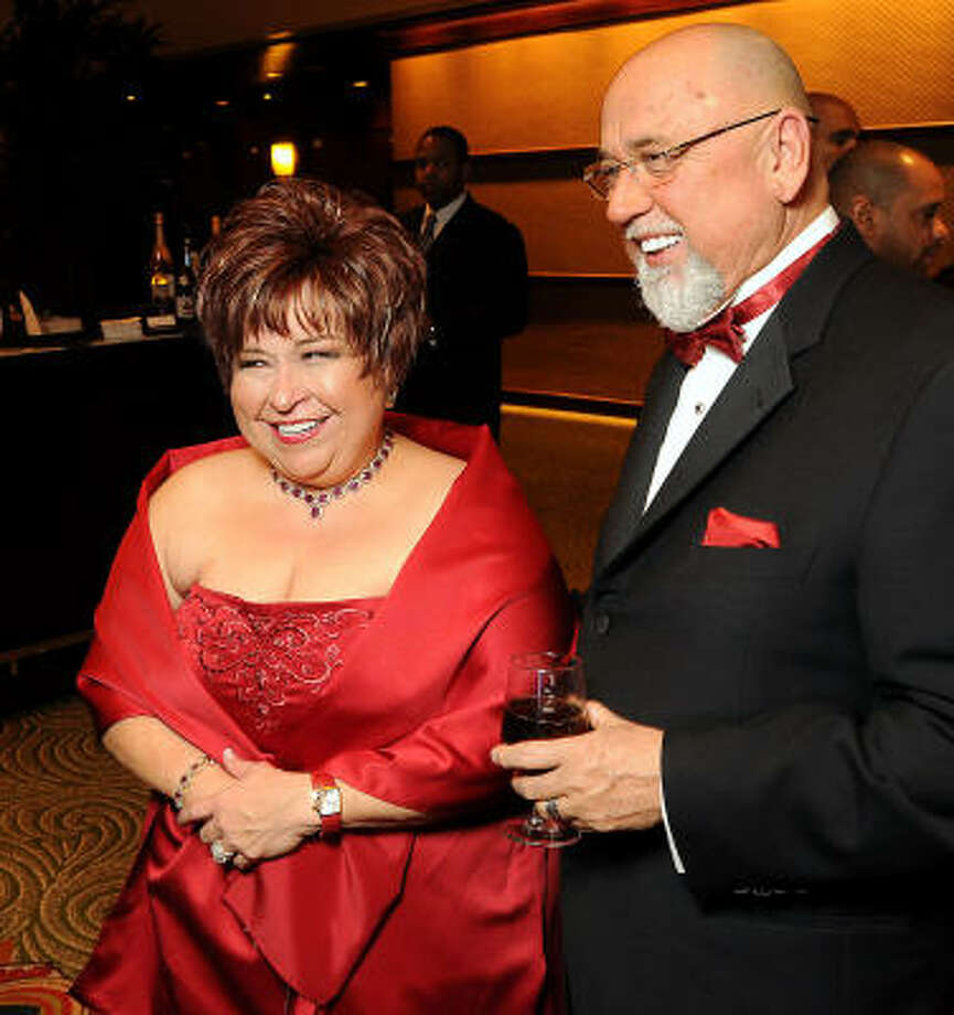 Honorees Trini Mendenhall-Sosa and Frank Sosa at the Cabaret for a Cure benefiting Legacy Community Health Services at the Hilton Americas-Houston. Photo: Dave Rossman, For The Chronicle