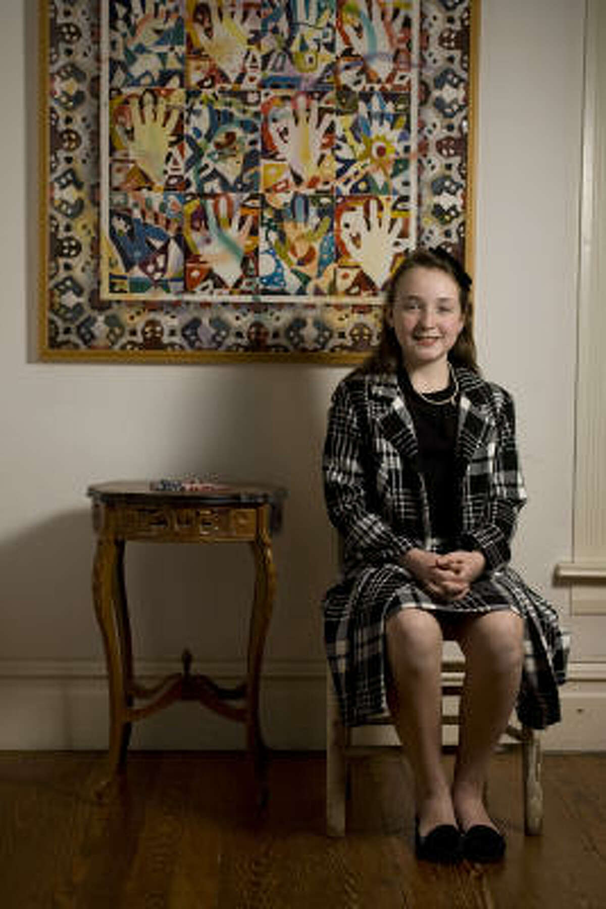Portrait of Virginia Wells, 11, a student at Whidby Elementary School, at her home where she was preparing for the 14th Annual Gardere MLK Jr. Oratory Competition.