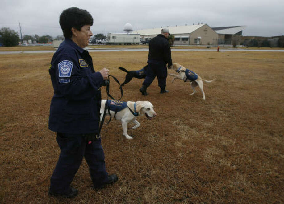 Shelley Swedlaw, a K-9 search specialist with Texas Task Force One, walks Scout during a break as members await a plane to head to Haiti to help in the quake relief efforts. Photo: Julio Cortez, Chronicle