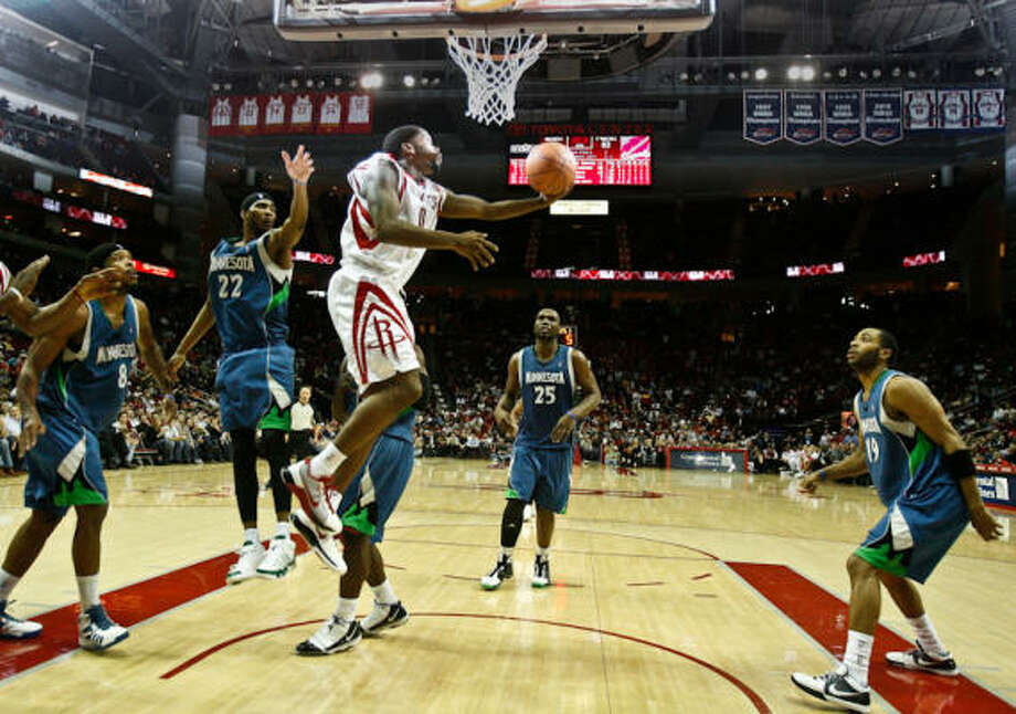 Jan. 13: Rockets 120, Timberwolves 114 (3-OT)Rockets guard Aaron Brooks cuts through the Timberwolves defense for a reverse layup in the second half. Details: Brooks scores 43. Photo: Nick De La Torre, Chronicle