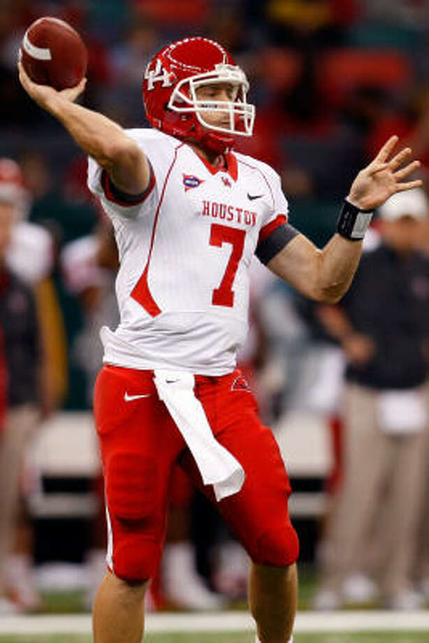 Oct. 17: UH 44, Tulane 16 33-46, 371 yards, 2 TD, 0 INT Photo: Chris Graythen, Getty Images