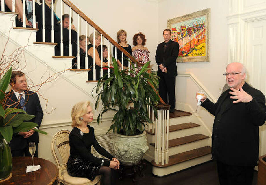 Alley Theatre Artistic Director Gregory Boyd introduces a performance of musical selections from Wonderland at the home of Lynn and Oscar Wyatt. Photo: Dave Rossman, For The Chronicle