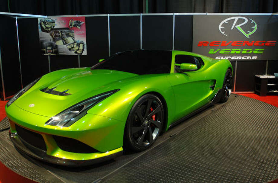 The Revenge Designs Verde Supercar Hybrid concept car, shown here on the show floor at the Detroit auto show, boasts fuel economy of 110 miles per gallon. Photo: Getty Images