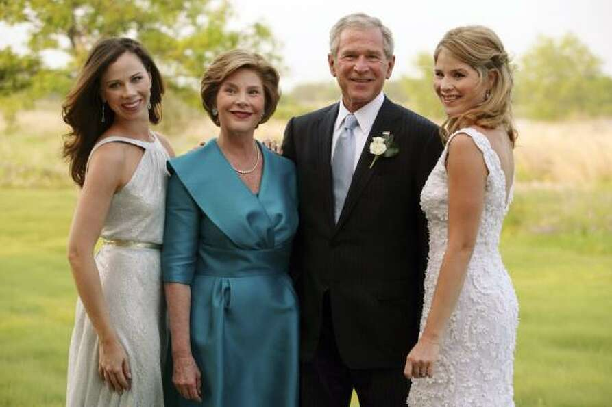 Former President George W. Bush and wife Laura Bush, raised twin daughters Jenna, right, and Barbara