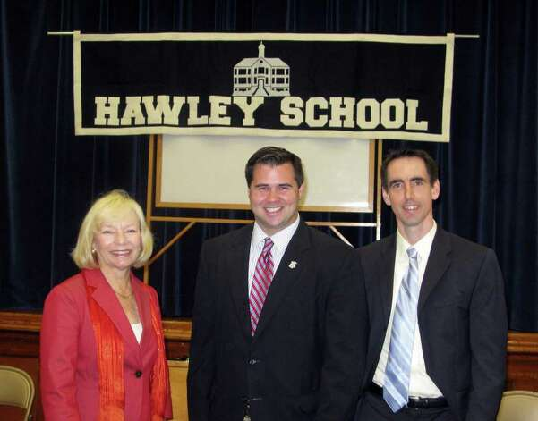 Alex Johnston (right) in a file photo with State Rep. Christopher Lyddy (D-Newtown) and Newtown Superintendent of Schools Janet Robinson. Johnston, the director of Connecticut Coalition for Achievement Now, introduced Meghan Lowney, of Fairfield, who was working for Greenwich philanthropist Steve Mandel, to Board of Education Chairman Allan Taylor in an effort to find outside help for the Bridgeport school system, according to emails obtained by Hearst Connecticut Newspapers. Photo: Contributed Photo, ST / Connecticut Post