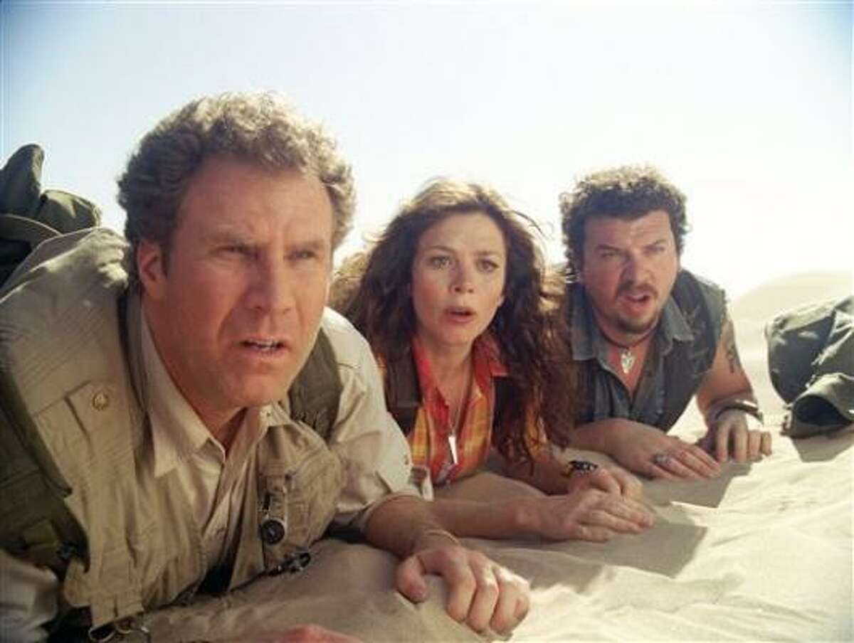 Will Ferrell, from left, Anna Friel and Danny McBride star in Land of the Lost.