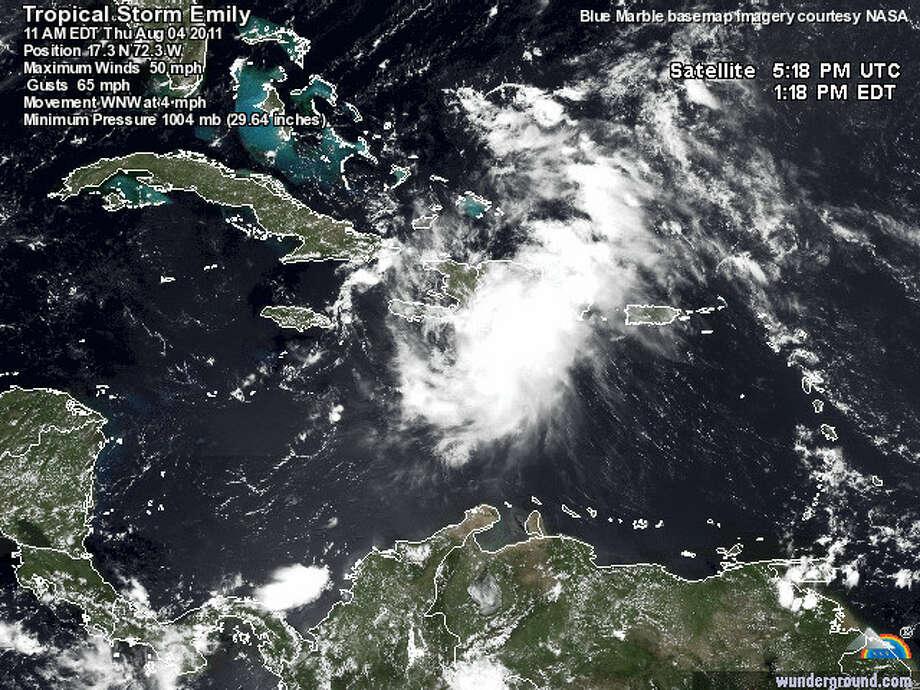 Tropical Storm Emily hit Haiti on Thursday. Satellite image provided by Weather Underground