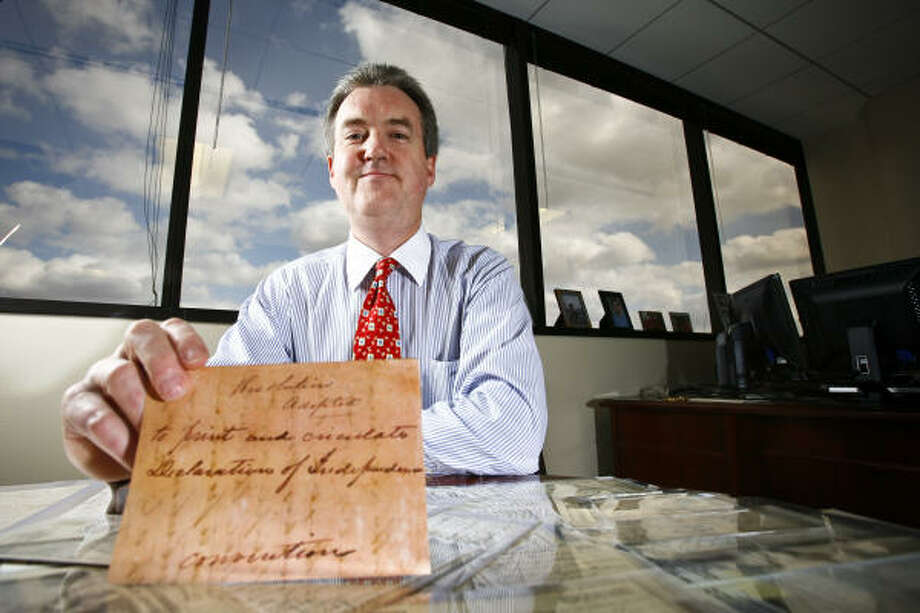 Author Jim Bevill found the order issued on March 2, 1836, for the first copies of the Texas Declaration of Independence in a collection donated to the Southern Methodist University library. The order had long been missing from the state archives. Photo: Michael Paulsen, Chronicle